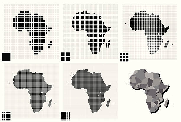 stockillustraties, clipart, cartoons en iconen met dotted maps of africa in different resolutions - united stats halftone dots