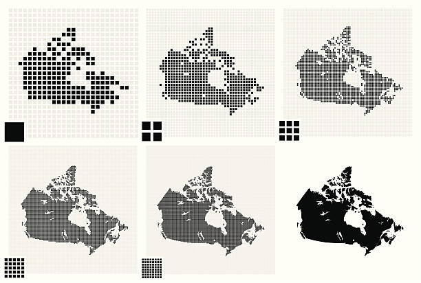 stockillustraties, clipart, cartoons en iconen met dotted maps of canada in different resolutions - united stats halftone dots