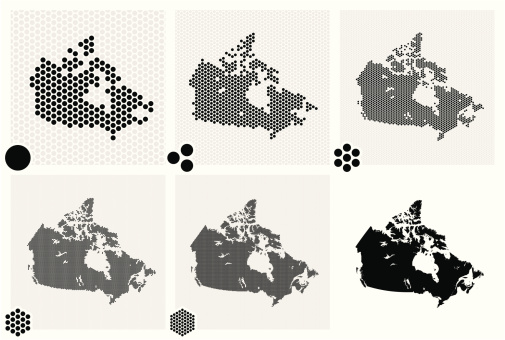 Dotted maps of Canada in various resolutions