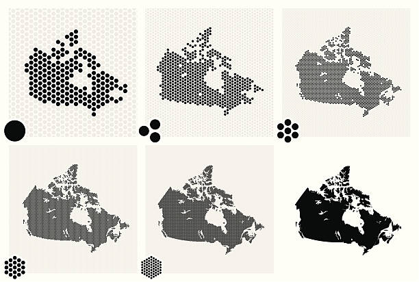 stockillustraties, clipart, cartoons en iconen met dotted maps of canada in various resolutions - united stats halftone dots