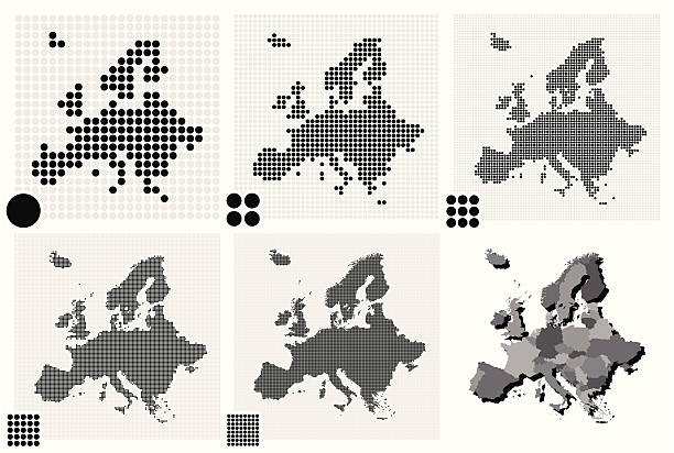 stockillustraties, clipart, cartoons en iconen met dotted maps of europe in different resolutions - united stats halftone dots