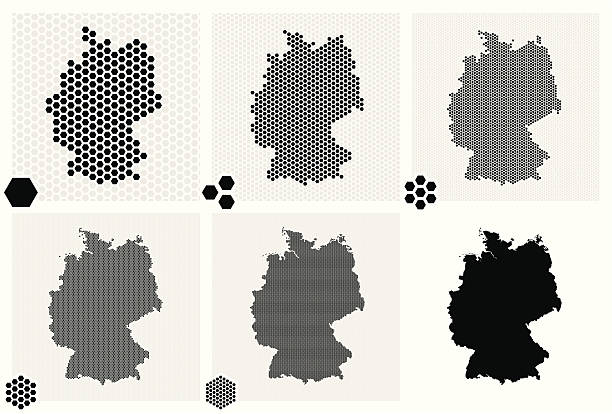 stockillustraties, clipart, cartoons en iconen met dotted maps of germany in different resolutions - united stats halftone dots