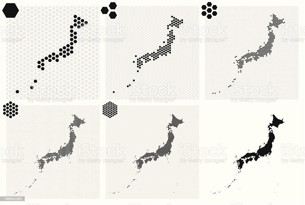 ドット入りマップの日本の種類の分解能 ベクターアートイラスト