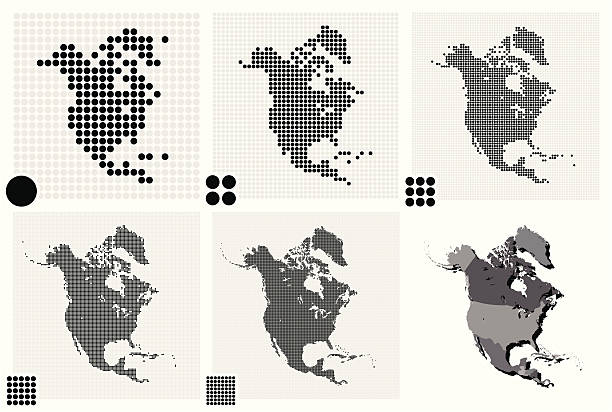 stockillustraties, clipart, cartoons en iconen met dotted maps of north america in different resolutions - united stats halftone dots