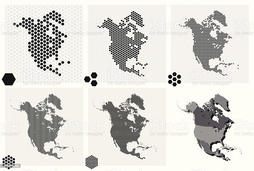 Dotted maps of North America in different resolutions royalty-free stock vector art
