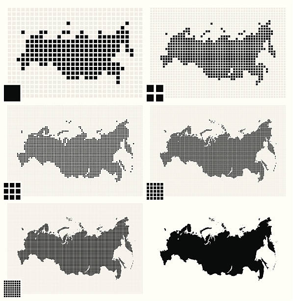 stockillustraties, clipart, cartoons en iconen met dotted maps of russia in different resolutions - united stats halftone dots