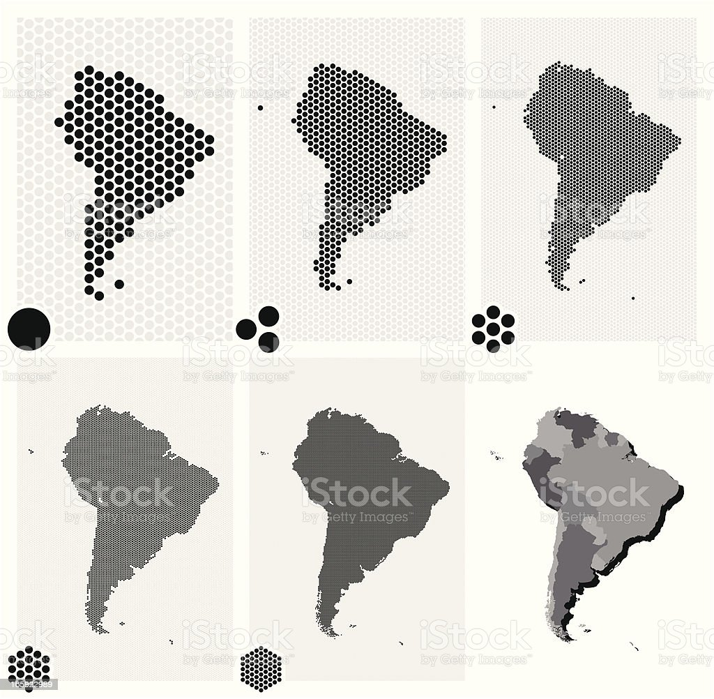 Dotted maps of South America in different resolutions royalty-free stock vector art