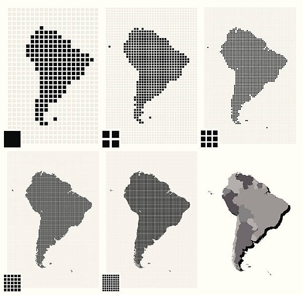 stockillustraties, clipart, cartoons en iconen met dotted maps of south america in different resolutions - united stats halftone dots