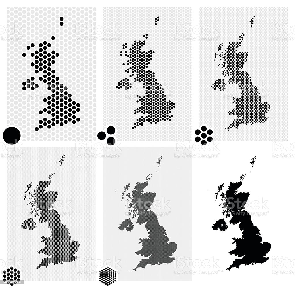 Dotted maps of the United Kingdom in different resolutions vector art illustration