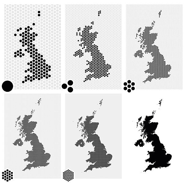 stockillustraties, clipart, cartoons en iconen met dotted maps of the united kingdom in different resolutions - united stats halftone dots