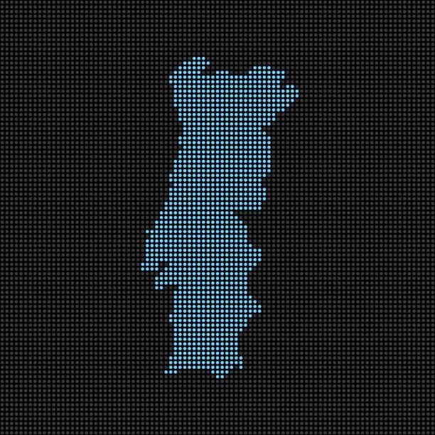 ilustrações de stock, clip art, desenhos animados e ícones de dotted portugal map - portugal map