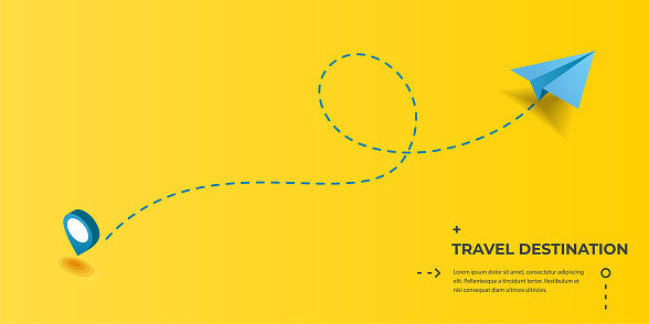 Dotted route track with paper plane and pin. Flight, vacation, holiday, traveling, business or tourism trip