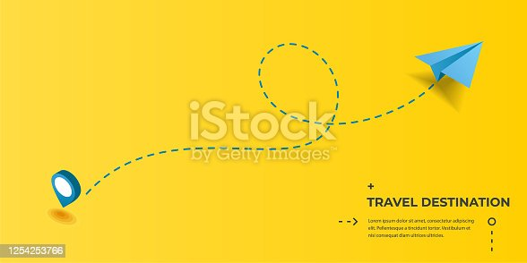 istock Dotted route track with paper plane and pin. Flight, vacation, holiday, traveling, business or tourism trip 1254253766