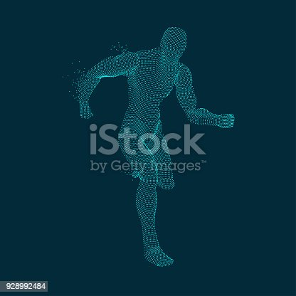 concept of sport science, graphic of dotted man running with particles