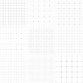 Set of graph paper. Dotted grid paper, dashed lines. Grid seamless patterns. Vector geometric backgrounds. One color - gray.