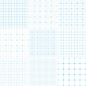 Set of graph paper. Dotted grid paper, dashed lines. Light blue grid seamless patterns. Vector geometric backgrounds.