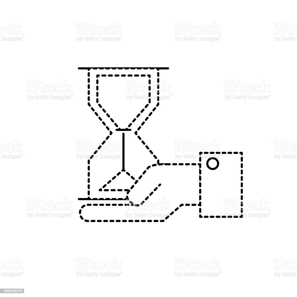 dotted shape businessman with housglass object in the palm hand vector art illustration