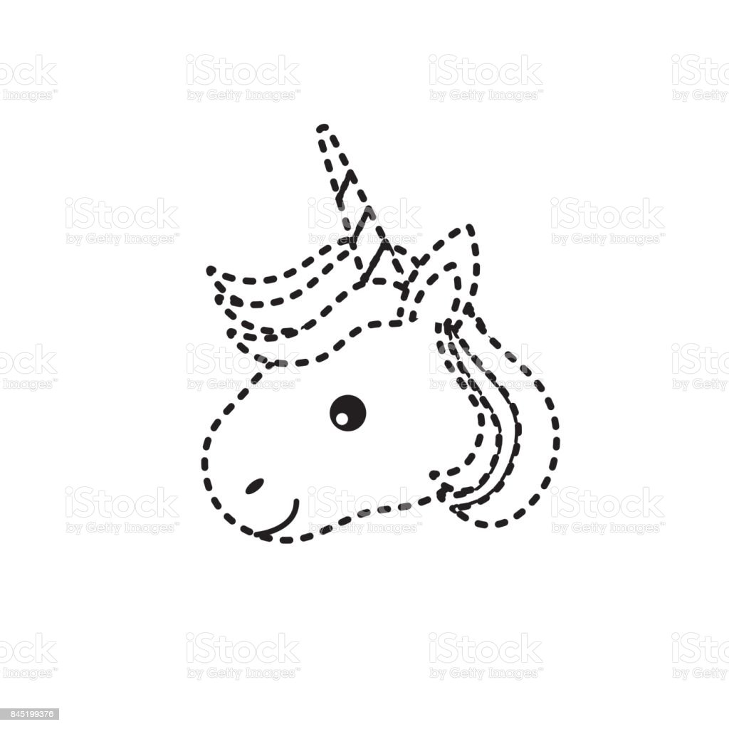 Dotted Shape Cute Unicorn Head With Horn And Hairstyle Stock Vector ...