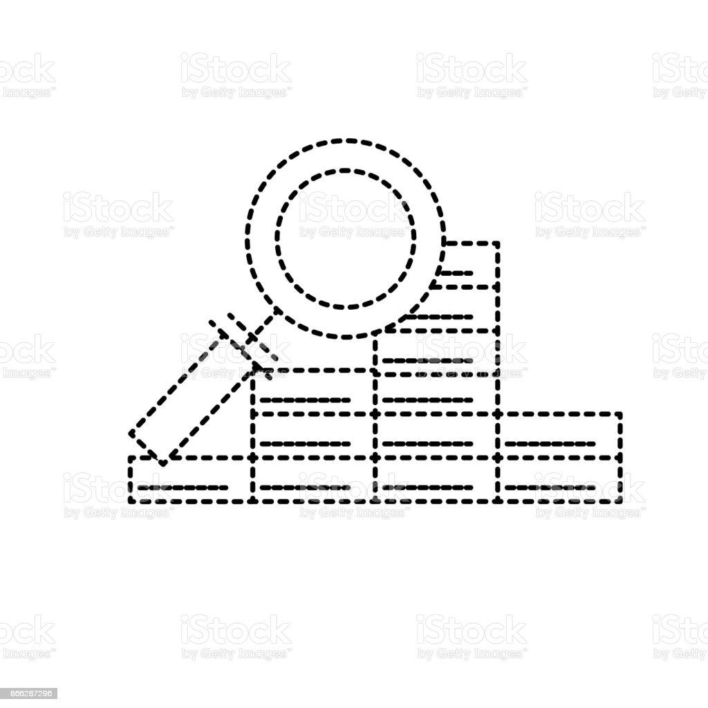 dotted shape finance gold economy with magnifying glass vector art illustration