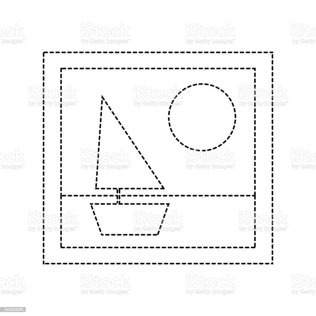 Gepunktete Form Rahmen Bild Mit Schiff Und Sonne Design Stock Vektor ...