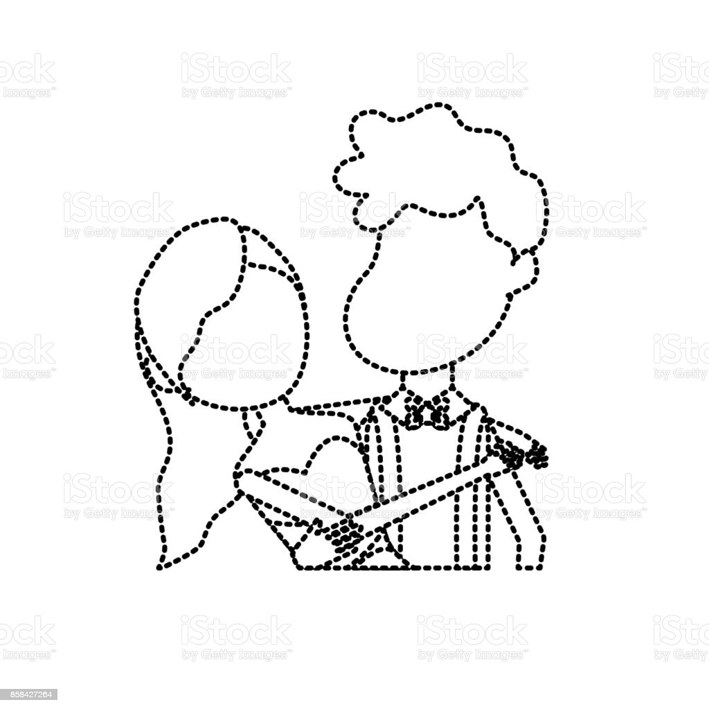Dotted Shape Happy Couple Together And Romantic Celebration Stock ...