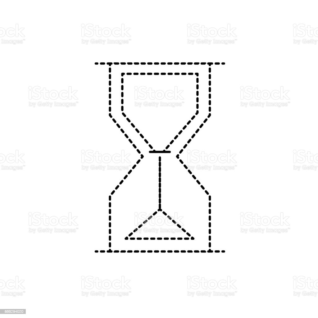 dotted shape hourglass object design to know the time vector art illustration