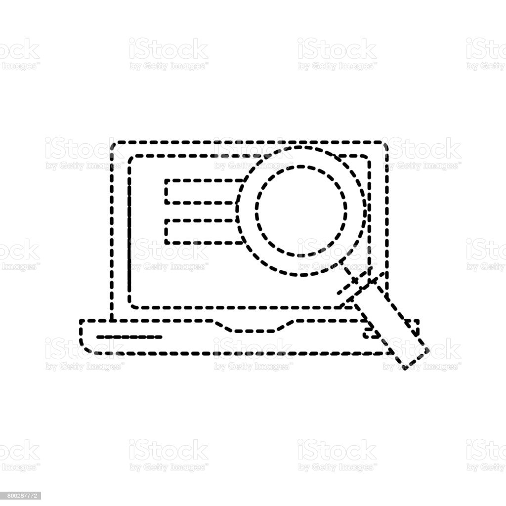 dotted shape laptop technology information with magnifying glass vector art illustration