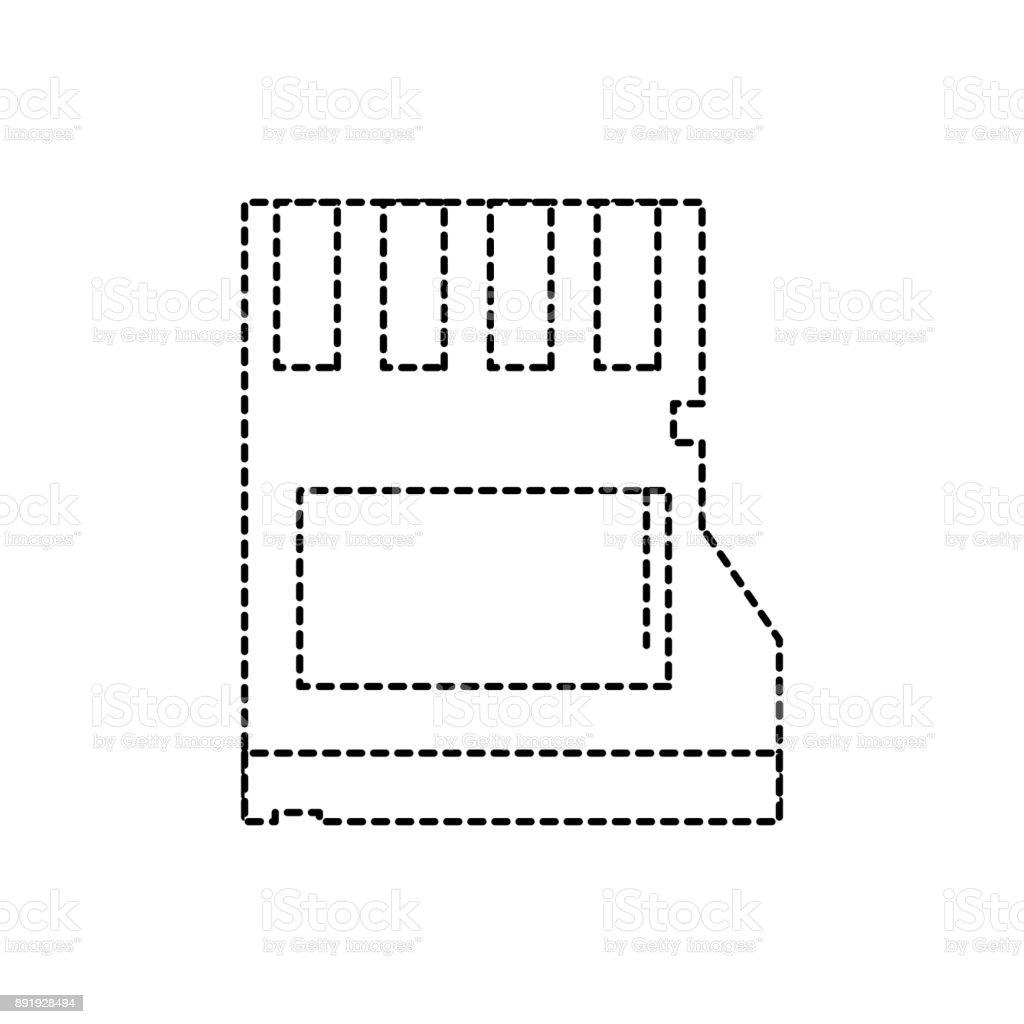 dotted shape micro sd memory data technology vector art illustration