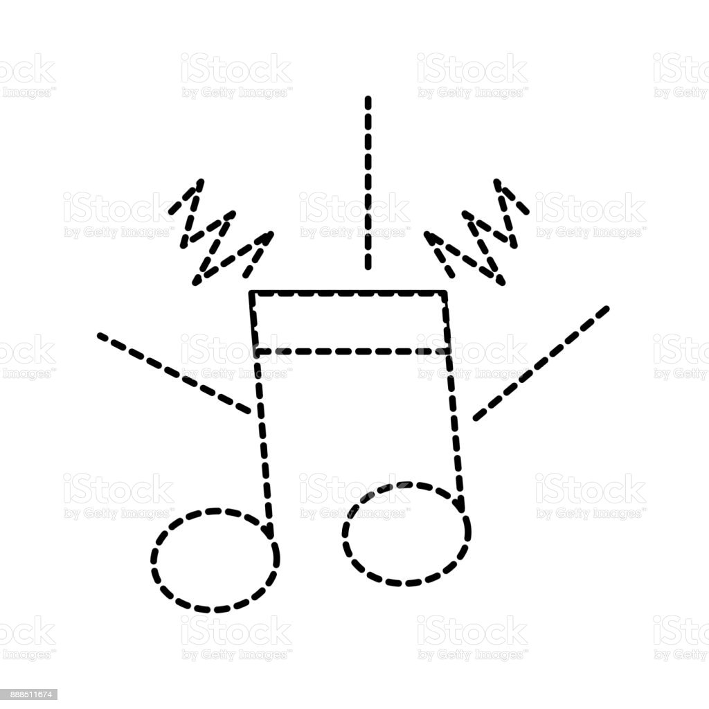 dotted shape musical note sign to rhythm sound vector art illustration