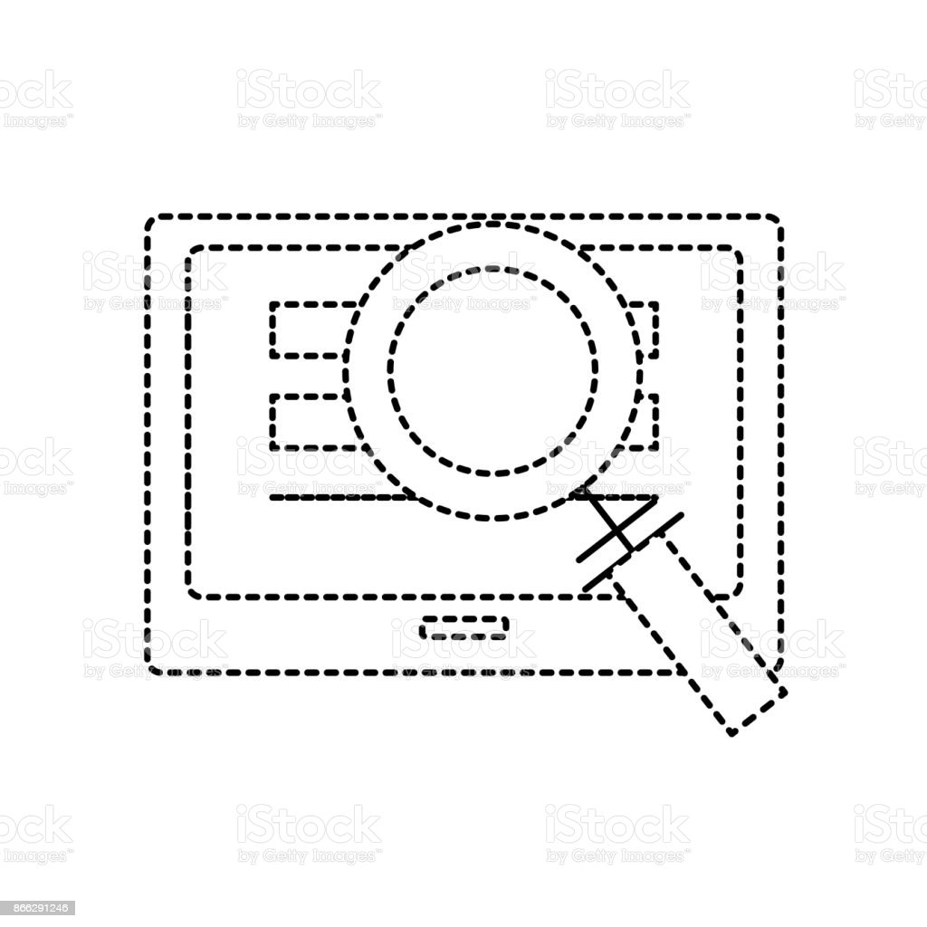 dotted shape screen technology with information and magnifying glass vector art illustration