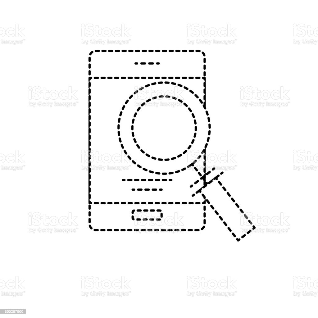 dotted shape smartphone technology information with magnifying glass vector art illustration