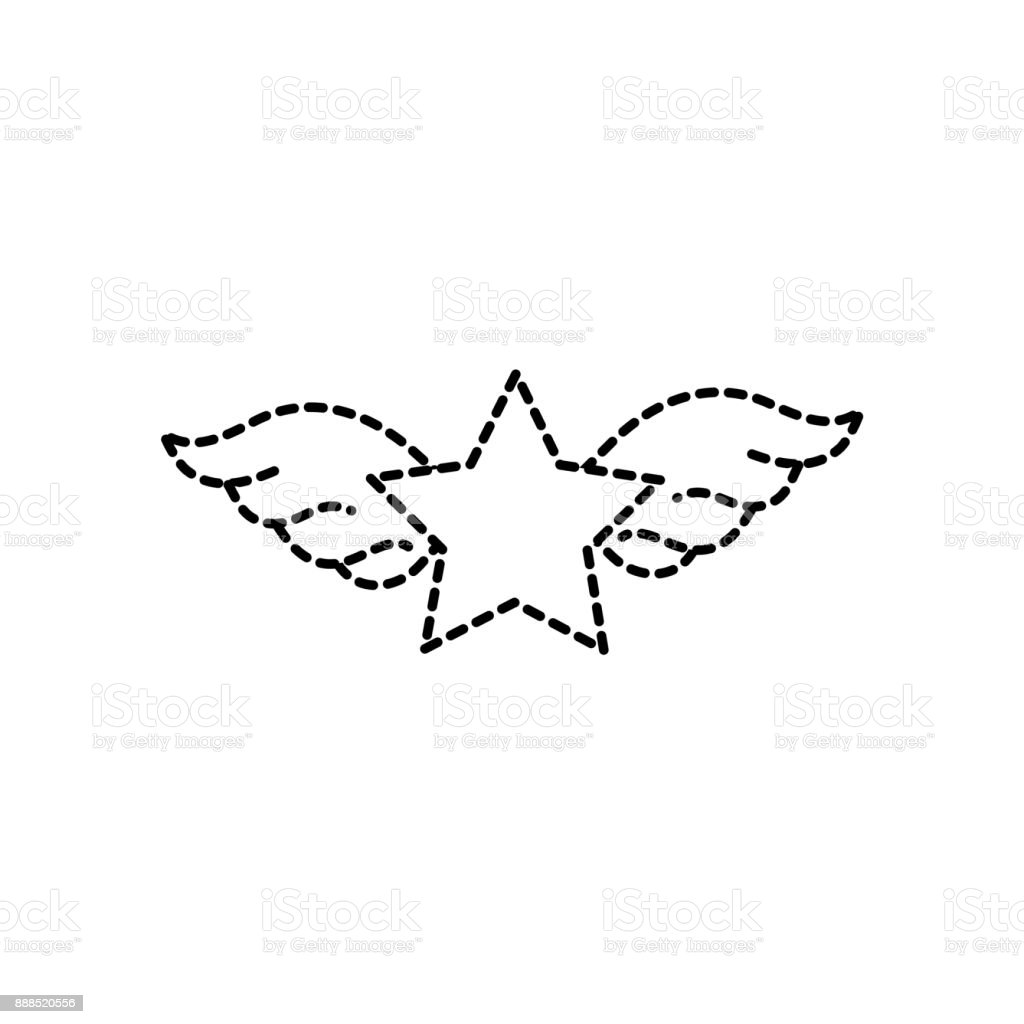 Dotted Shape Star With Wings Rock Symbol Art Stock Vector Art More