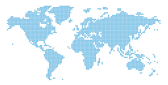 Detailed world map of dots - vector illustration