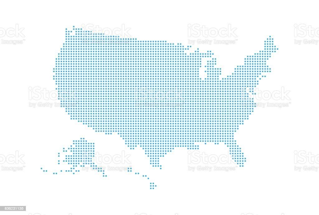 Mapa de estilo pontilhado de EUA e fundo branco - ilustração de arte em vetor