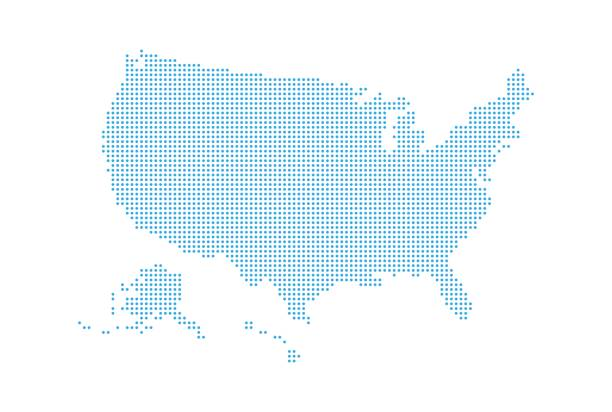dotted style map of usa and white background - north america maps stock illustrations, clip art, cartoons, & icons