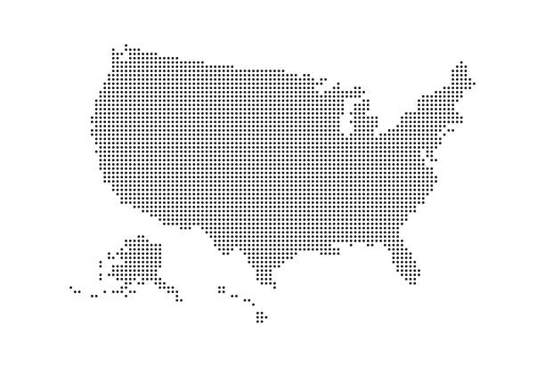 Dotted style map of USA and white background vector art illustration
