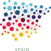dotted texture Spain multicolored abstract vector background