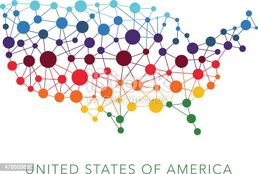 dotted texture USA vector background on white