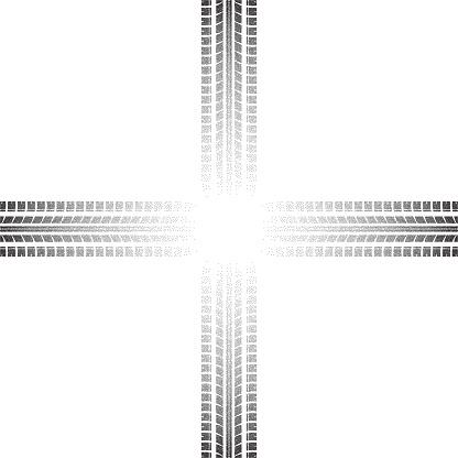 Prickade Däck Spår Crossroad Bakgrund-vektorgrafik och fler bilder på Abstrakt