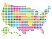 Map of the United States vector illustration with multicolored halftone Pattern..Saved in EPS 8 file. All related elements are grouped separately. Well constructed .for easy editing. Hi-res jpeg file included (5000 x 3745).