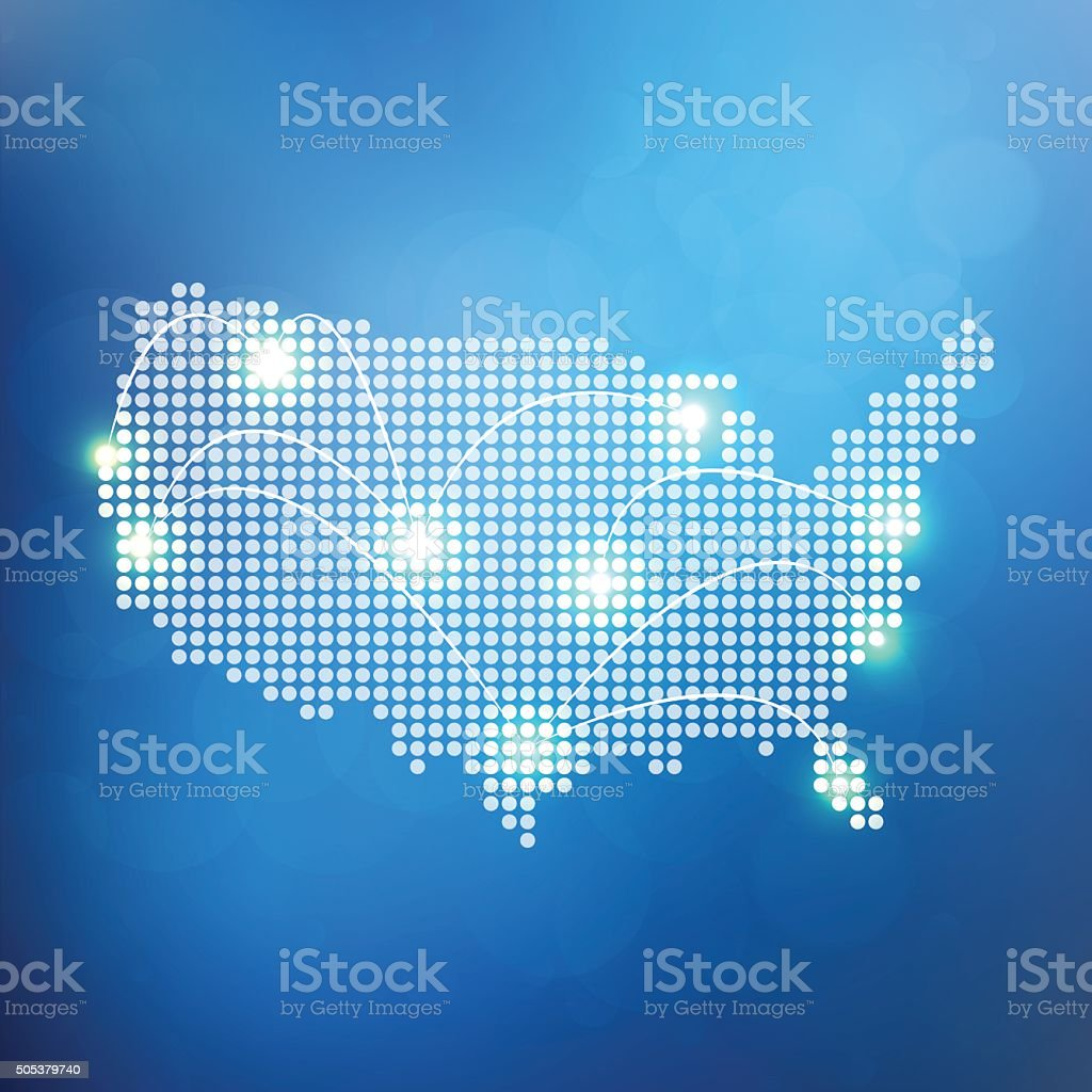 Dotted Usa Map With White Lights Connected On Blue ... on fcc line a map, voyage map, flight connections map, open map, robin hood map, professional map, happy map, no man's land map, pittsburgh metro map, earth drawings north america map, world map, the shining map, wireless connection map,