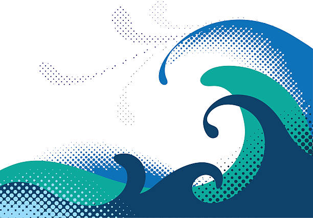 Dotted wave graphic in shades of blue on white vector art illustration