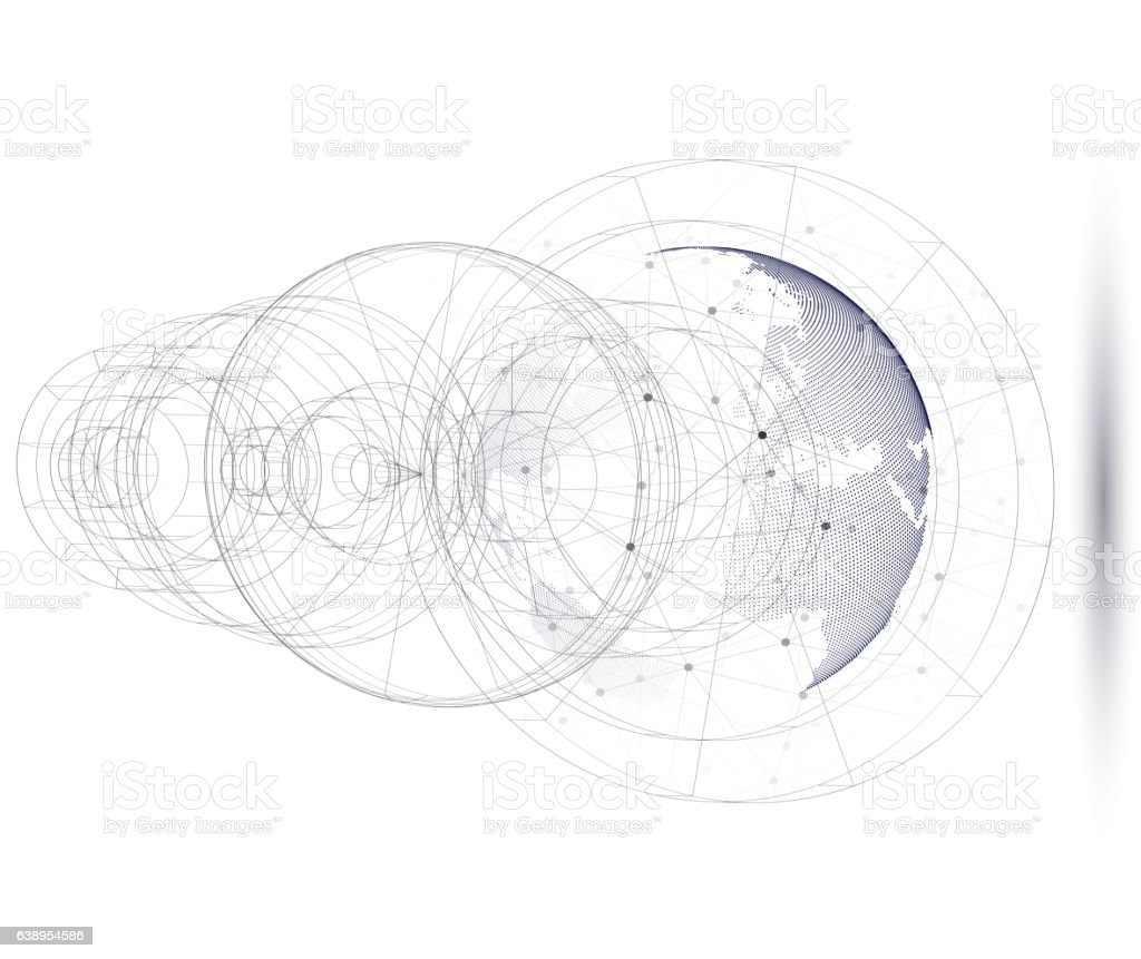 Dotted world globe with abstract construction, connecting lines and dots vector art illustration
