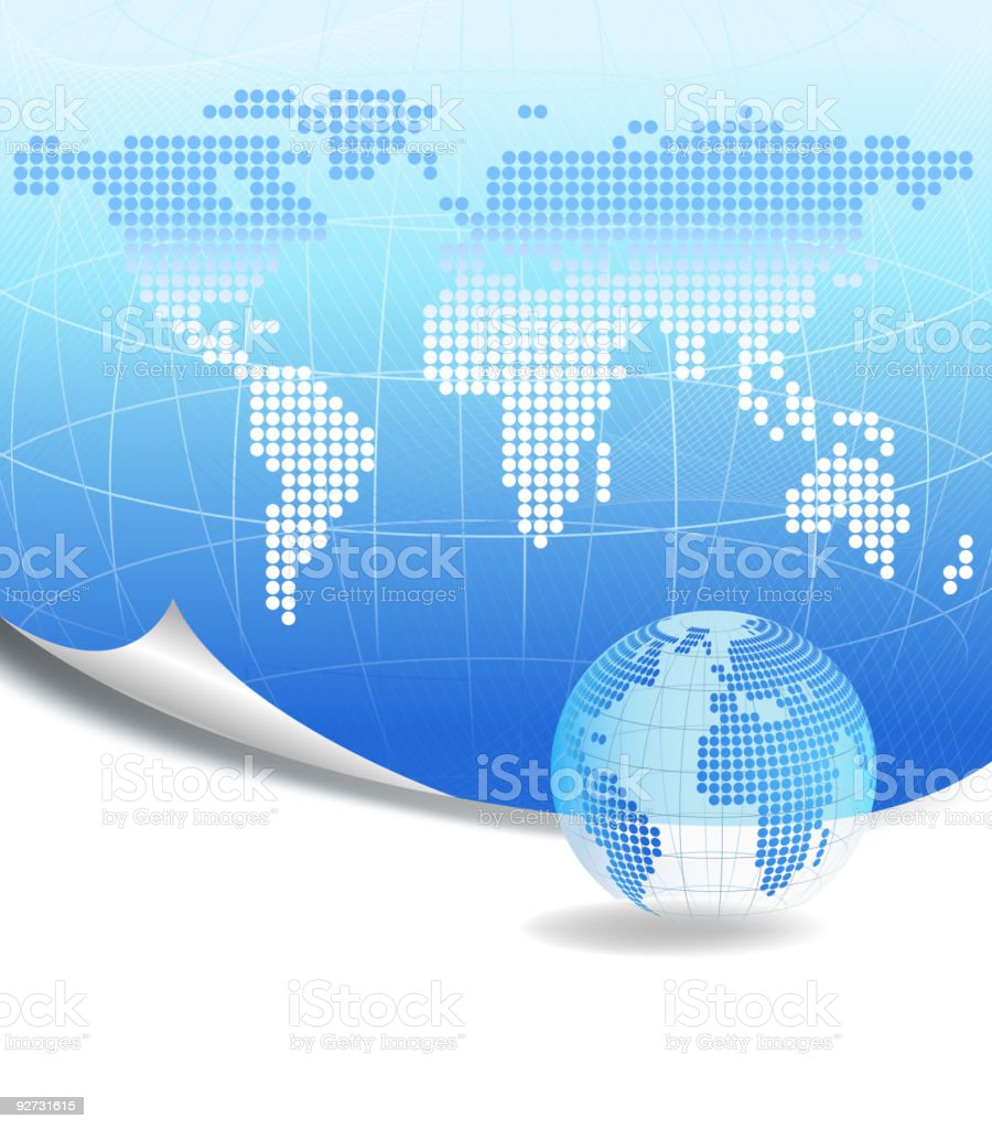 Dotted world map background and a globe royalty-free stock vector art