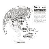 Dotted World Map Background. Earth Globe. Globalization Concept
