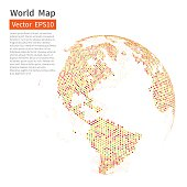 Dotted World Map Background. Earth Globe. Globalization Concept. Vector.