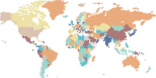 Dotted World map of hexagonal dots vector art illustration