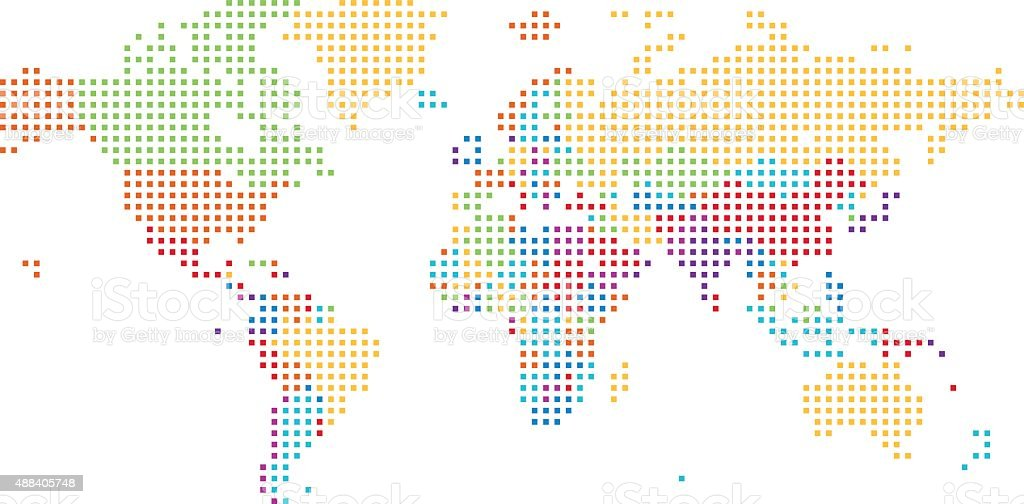 Dotted world map of square dots stock vector art more images of dotted world map of square dots royalty free dotted world map of square dots stock gumiabroncs Images