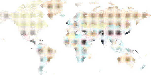 Dotted World map of square dots vector art illustration