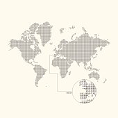 Dotted world map on a light background. Vector illustration.